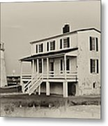 The Piney Point Lighthouse In Sepia Metal Print