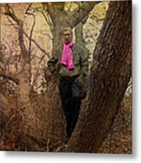 The Pink Scarf Metal Print