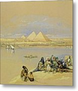 The Pyramids At Giza Near Cairo Metal Print