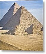 The Pyramids With Two Men On Camels Metal Print