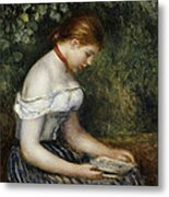 The Reader A Seated Young Girl  Metal Print by Pierre Auguste Renoir