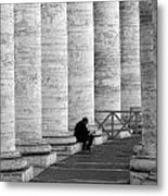 The Reader Amidst The Columns Bw Metal Print