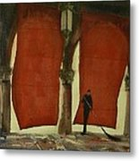 The Red Blinds Of Venice Fish Market Metal Print