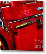 The Red Steam Flyer . Steam Powered Motorcycle . 7d14374 Metal Print