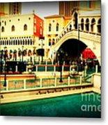 The Rialto Bridge Of Venice In Las Vegas Metal Print