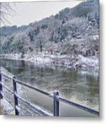 The River Severn In Ironbridge Frozen During Winter II Metal Print