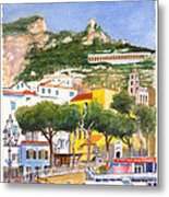 The Ruined Tower Above The Beach At Amalfi On The Southern Italian Coast Metal Print
