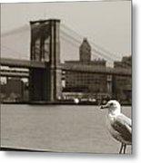 The Seagull Of The Brooklyn Bridge Metal Print
