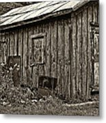 The Shed Sepia Metal Print by Steve Harrington