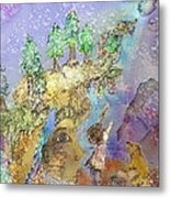 The Snowy Forest Night  Metal Print