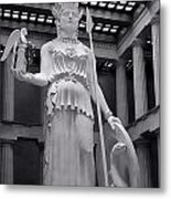 The Statue Of Athena Bw Metal Print by Linda Phelps