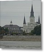 The St.louis Cathedral From Acorss The River Metal Print