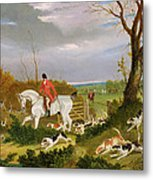 The Suffolk Hunt - Going To Cover Near Herringswell Metal Print