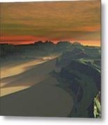 The Sun Sets On This Desert Landscape Metal Print
