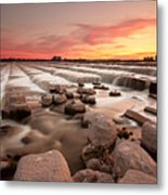 The Sunset By Dam Metal Print