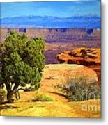 The Tree The Canyon And The Mountains Metal Print