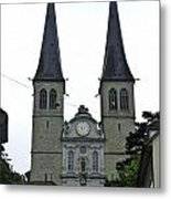 The Twin Spires Of Hof Church In Lucerne Metal Print