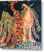 The Unicorn And Phoenix Rise From The Earth Metal Print