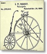 The Velocipede Patent 1880 Metal Print