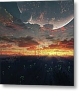 The View From An Alien Moon Towards Metal Print
