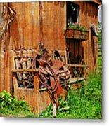 The Western Saddle Metal Print