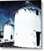 The Windmills Of Mykonos - Textured Blue Metal Print