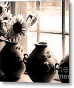The Window Vases Metal Print