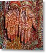 The Wonderfully Decorated Hands And Clothes Of An Indian Bride Metal Print