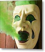 Theater Mask Spewing Green Smoke Metal Print by Garry Gay