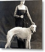 Theda Bara With Her Russian Wolfhound Metal Print
