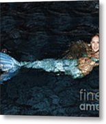 There Is A Mermaid In The Pool Metal Print