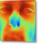Thermogram Of A Boys Face Metal Print