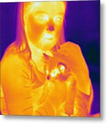 Thermogram Of A Girl And Cat Metal Print