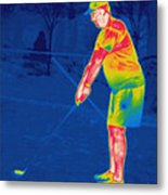 Thermogram Of A Golfer Metal Print