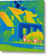 Thermogram Of Car In Front Of A House Metal Print