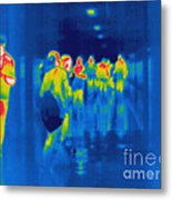 Thermogram Of Students In A Hallway Metal Print