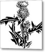 Thistle, Lino Print Metal Print