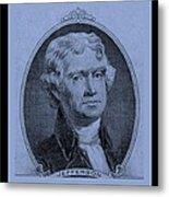 Thomas Jefferson In Cyan Metal Print