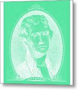 Thomas Jefferson In Negative Green Metal Print