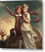 Thomas John Clavering And Catherine Mary Clavering Metal Print by George Romney