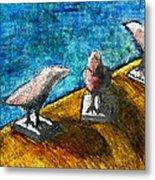 Three Birds Blue Metal Print