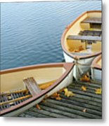 Three Boats Floating On Pond Beside Pier Metal Print