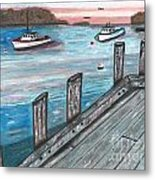 Three Boats In The Harbor Metal Print