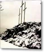 Three Crosses Metal Print