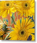 Three Daisy's And Butterfly Metal Print