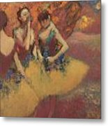Three Dancers In Yellow Skirts Metal Print by Edgar Degas