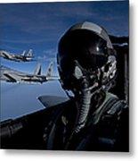 Three F-15 Eagles Fly High Metal Print