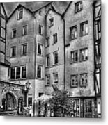 three homes in Black and White Metal Print