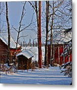 Three Little Houses Metal Print