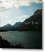 Three Mountains On Many Glacier Lake Metal Print